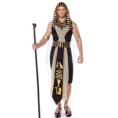 COSOER Disfraz De Cosplay del Rey Monarca del Antiguo Egipto Faraón Amon-La God Son Momia Ropa De Fiesta De Halloween para Hombre Adulto,M