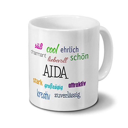 Tasse mit Namen Aida - Motiv Positive Eigenschaften - Namenstasse, Kaffeebecher, Mug, Becher, Kaffeetasse - Farbe Weiß