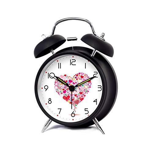 Réveil Mode créative Cartoon Silent Night Light Chevet Personnalité Réveil Mignon Élève Enfants Home Clock HUYP (Color : Heart)