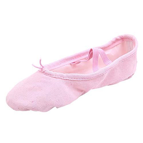 Luckhome Klettverschluß Sandalen Socken Wechselfußbett Damen Schuhe Frauen-Tanz-Yoga-Ballett-Punkt-Tanz-Eignungs-Gymnastik-weiche untere Tanzschuhe(Rosa,EU:36)