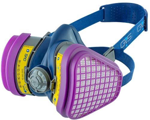 GVS SPR473 Elipse OV/AG-P100 Dust and Organic/Acid Gas Vapour Half Mask Respirator with Replaceable and Reusable Filters Included