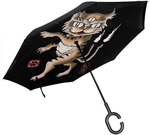 Paraguas invertido de Doble Capa Cat de Yokai para Manos Plegables invertidas en Forma de C invertidas para automóviles - Ligero y a Prueba de Viento y Ndash;