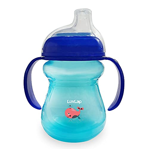 LuvLap Moby Little Spout Sipper for Infant/Toddler, 240ml, Anti-Spill Sippy Cup with Soft Silicone Spout BPA Free, 6m+ (Blue)
