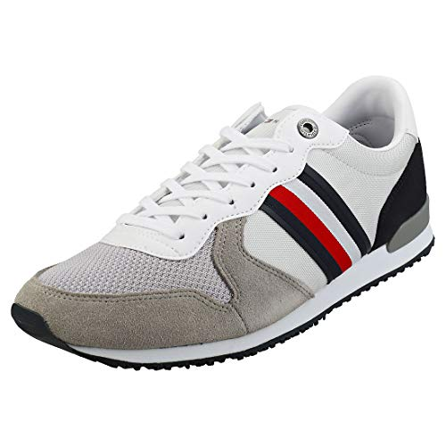 Tommy Hilfiger Iconic Material Mix Runner, Zapatillas para Hombre, Gris (Antique Silver PRT), 43 EU