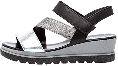 Gabor 23.641 Damen Sandalen,Keilsandalen, Frauen,Keilabsatz-Sandaletten,Keilsandaletten,Sommerschuh,flach,Best Fitting,Silber/Stone/schw,5.5 UK