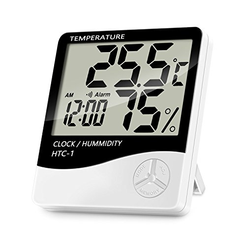 Lanhiem Indoor Digital Thermometer Hygrometer, Accurate Room Temperature Gauge Humidity Monitor with Alarm Clock - Easy to Read, Max/Min Records, LCD Display for Home - White