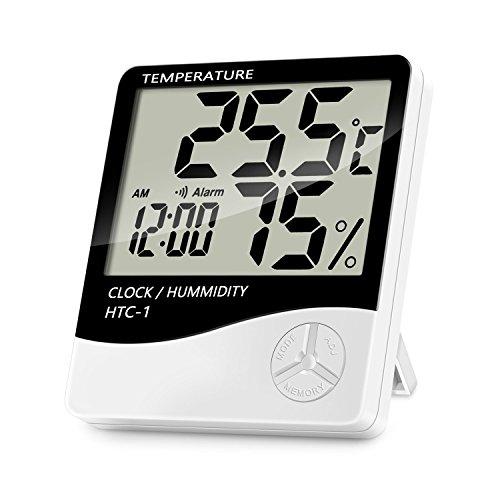 Thermomètre Hygromètre Intérieur, Lanhiem Multifonction Thermo-hygromètre Électronique, Écran LCD Digital L'Affichage moniteur de Température et Humidité