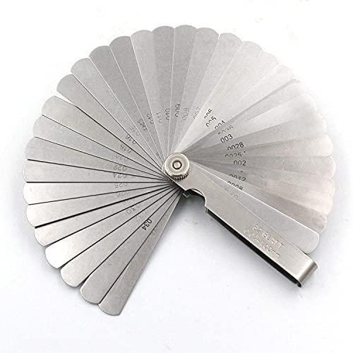 JTMIX シックネスゲージ 厚さ 薄さ測定 32枚組 鋼製 隙間測定 厚さ 薄さ 測りフィーラーゲージ デュアルマーク付き ブレードスチール メトリック&インペリアル ギャップ測定ツール 0.02-1 mm