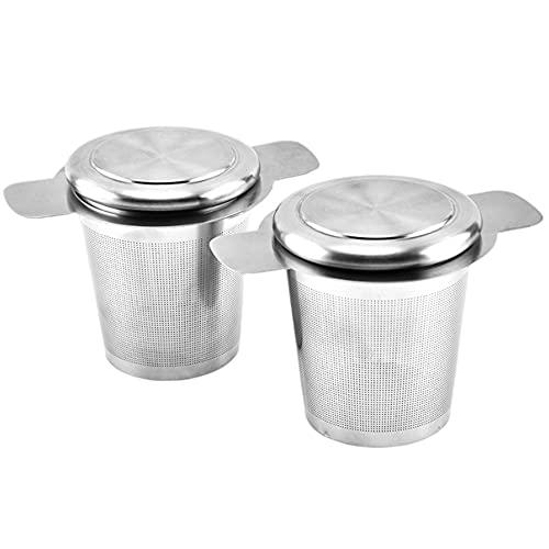 Teesieb Teefilter Edelstahl aus Rostfreiem Stahl, 2 Stück Teesieb mit Doppelgriffen und Deckel zum Einhängen an Teekannen, Tassen und zum Aufbrühen von Losen Teeblättern und Kaffee