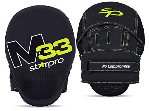 Starpro M33 Hook n 'Jab Gebogene Boxpratzen | Mattes Kunstleder | Schwarz & Grün | Pads für Coaching im Boxen MMA Kickboxen Kampfkunst Muay Thai und Training