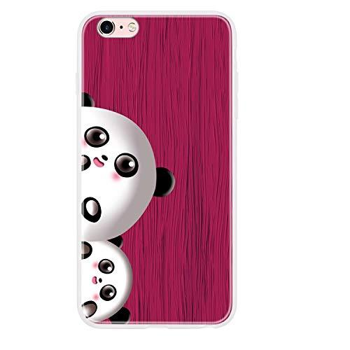 Miagon Holz Korn Hülle für iPhone SE 2020,Ultra Dünn Weiche Silikon Handyhülle Cover Stoßfest Schutzhülle mit Schöne Süß Panda Muster,Rose Rot