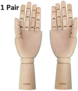 HSOMiD Flexible Wooden Hand Model Moveable Wooden Artists 12 Inches Hand Model for Sketching Drawing Painting Home Office ...