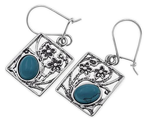 AbaSchmuck Pendientes turquesa de plata 925 H0574