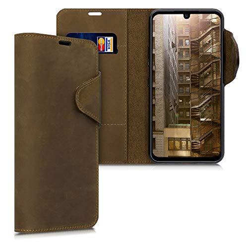 kalibri Hülle kompatibel mit LG G8X ThinQ - Leder Handyhülle - Handy Wallet Hülle Cover in Braun