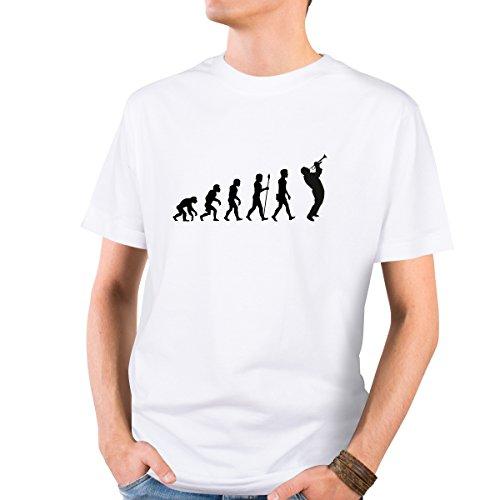 JUNIWORDS Herren T-Shirt mit rundem Ausschnitt -Evolution Trompeter - große Auswahl an Motiven - Größe: XL - Farbe: Weiß