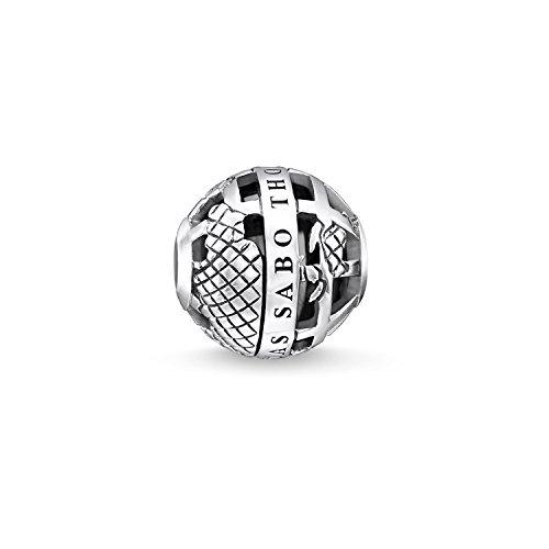 THOMAS SABO Damen-Bead Karma Weltkugelperle mit Stein 925 Silber Onyx schwarz - K0262-698-11