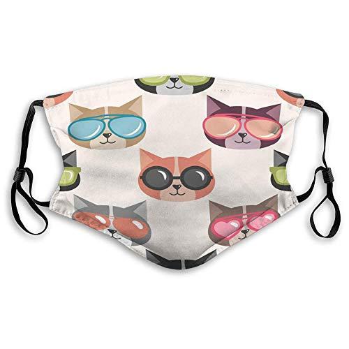 GONGHE Fundas protectoras transpirables para el fondo con divertidos gatos con caras de gafas de sol de verano.