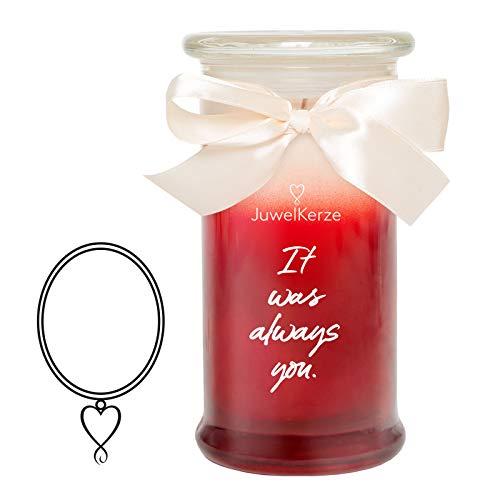 JuwelKerze It was Always You, große Duftkerze (Rose, 1020g, 95-125 Std. Brenndauer) in Rot mit 925er Sterling Silber Schmuck, Halskette