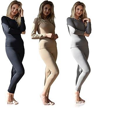 Sexy Basics Women's 3 Set - 6 Piece Mix & Match / Base Layer Thermal Tops & Pants Underwear Sets / 100% Brush Cotton (3 Sets - Black / Steel / Nude, X-Large)