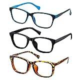 Blue Light Blocking Glasses Computer - Blue Ray Blocker Glasses Anti Eye Strain Glasses Stylish Square Eye Glasses from Laptop Screen Reading Gaming for Women Men Teens 3 Pack