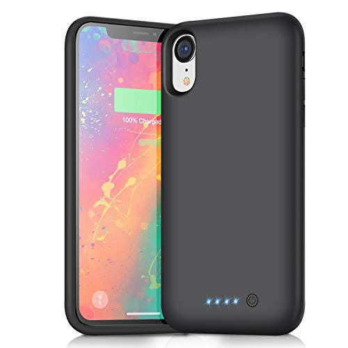 Battery Case for iPhone XR,6800mAh Portable Protective Charging Case for iPhone XR Extended Backup Rechargeable Battery Pack External Charger Case(6.1inch)-Black