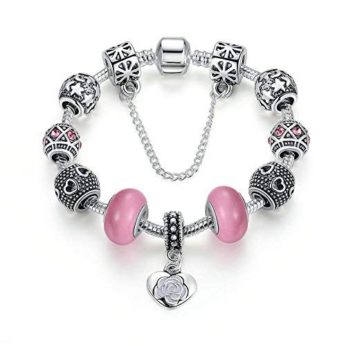 aba942c2d Carina Sterling Silver Love Pandora Rose Pink Charm Bracelet for Women Girls