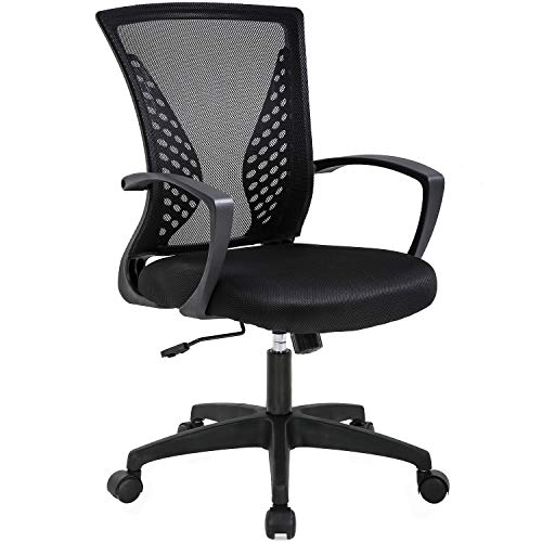 Office Chair Ergonomic Desk Chair Mesh Computer Chair with Lumbar Support Armrest Mid Back Rolling Swivel Adjustable Task Chair for Women Adults, Black