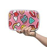 LUPINZ Make-up-Tasche für Damen, Emoji, Pink, Pop-Art, Stitch-Patch-Muster, Federmäppchen, Make-up-Pinsel-Taschen, Reise-Set, Organizer, Kosmetiktasche