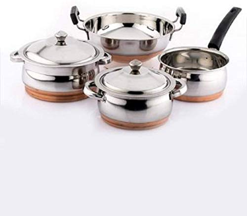 NEWLAND kitchenware 4 pcs Amazing All Copper cookware Set Package 2 Handi with lid 1pc kadhai with Handle 1pc sacepan Induction Bottom Cookware Set (Copper, Stainless Steel, 1 - Piece)