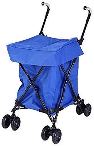 LIYONG Einkaufswagen, Handkarren-Einkaufen Mobility Trolley Multi-Functional Faltbare bewegliche Einkaufswagen mit blauem Oxford Bag Maximale Belastung 25kg HLSJ