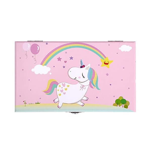 """SONGMICS Unicorn Ballerina Jewelry, Music Box with Pullout Drawer, Ring Slots and Divided Compartments, 7.5""""L x 4.3""""W x… 6"""