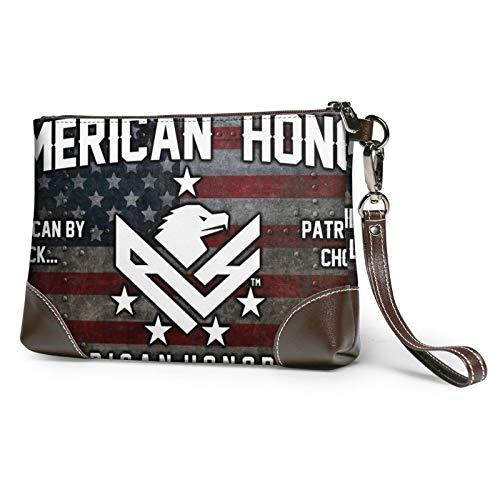 MGBWAPS American honor bandera día embrague, bolso de embrague de cuero, bolso cosmético, bolso de embrague pulseras, (Como se muestra), Talla única