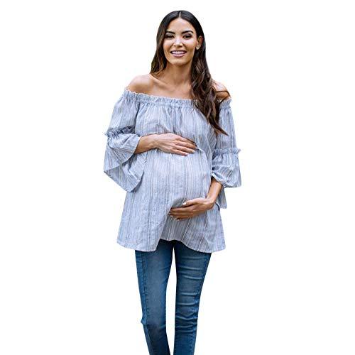 SUCES Umstandsmode Oberteile,Sexy Schulterfrei T-Shirt Damen Herbst Kurzarm Schwangerschaft Baumwolle Streifen 3/4 Ärmel Tragen Elegant Bluse (Blau,M)
