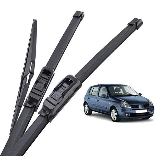 DYBANP Limpiaparabrisas Delantero y Trasero, para Renault Clio MK2 1998-2005, limpiaparabrisas Accesorios para el Parabrisas del limpiaparabrisas Delantero y Trasero