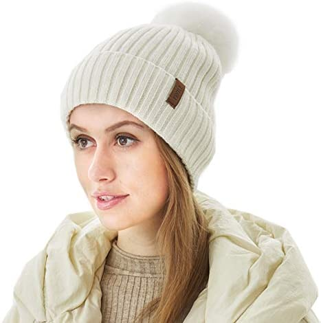 Women Winter Beanie Knitted Hats with Faux Fur Pom Pom Ball Bobble White Warm Soft Fleece Bennies product image