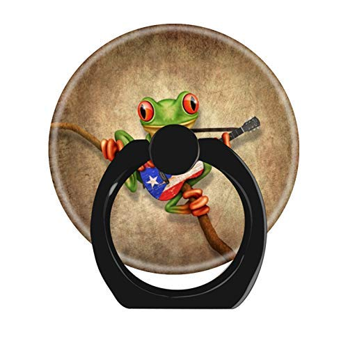 LoveStand-Cell Phone Ring Holder 360 Degree Finger Ring Stand for Smartphone Tablet and Car Mount-Tree Frog Playing Puerto rico Flag Guitar