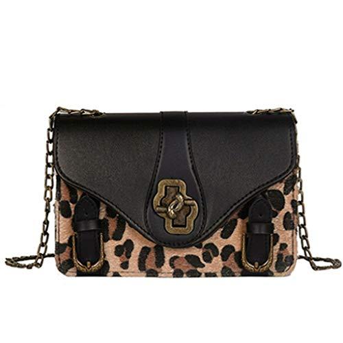Luckycat Monederos Mujer Shoppers y Bolsos de Hombro Bandolera Nylon Estampado De Leopardo Mujer Bolsos de Mujer Negros Bolsos Pequeños de Mujer Con Muchos Bolsillos