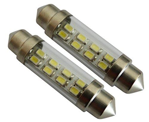 AERZETIX: 2X Ampoule veilleuses C5W 12V 8LED SMD Blanc Effet xénon 41mm éclairage intérieur Plaque d'immatriculation seuils de Porte plafonnier Pieds Lecteur de Carte Coffre Compartiment Moteur
