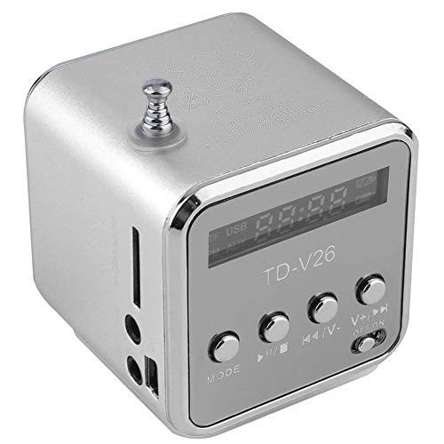 XFSE Silber Tragbare Mini-Lautsprecher klingen Mini tragbare Digitale LCD-SD/TF FM-Stereo-Sendung Musik Laptop-Lautsprecher