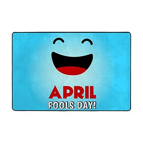 CHEHONG - Alfombra grande para el día de los locos de abril, fondo azul sonriente, de microfibra, forro polar, para sala de estar, dormitorios, hogar, suelo laminado para niños