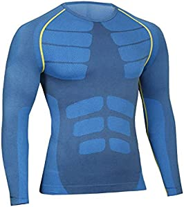 Bwiv Camiseta Hombre Deportiva Compresión Camiseta Interior Hombre Manga Larga Fitness Gimnasio Aire Libre para Entrenamiento Ciclismo de Azul y Línea Amarillo Talla L