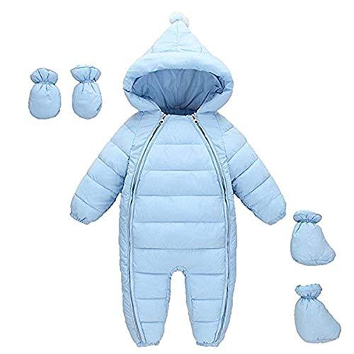 FAIRYRAIN Baby Jungen Mädchen Schneeanzug Daunenanzug Strampler mit Kapuze Handschuhe Footies Quilted Pramsuit Outdoor Winter Snowsuit , Blau,  70cm/3-6 Monate