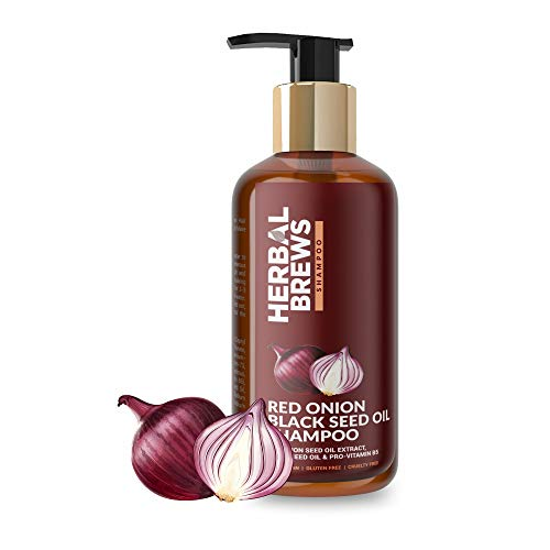 Herbal Brews - Onion Shampoo for Hair Fall Control | Hair Growth Shampoo for Women & Men | Red Onion Seed Oil Extract, Black Seed...