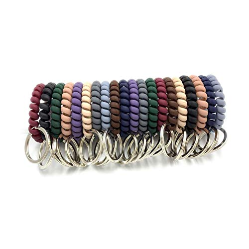 EvaGO 20 Pieces Mix Color Plastic Coil Stretch Wristband KeyChain Elastic Stretchable Wrist Key Holder Key Hook for Office, Workshop, Shopping Mall, Gym, Pool and Outdoor Activities