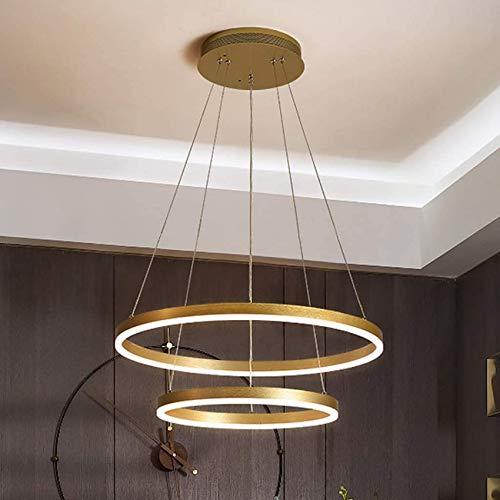 Candelabros LED de anillo circular moderno, metal dorado durante la luz, luz de techo colgante para comedor, para sala de estar, dormitorio, restaurante, porche, cocina, islas, 2 luces, 40 c