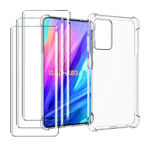 LYZX für Samsung Galaxy A52 5G/4G Hülle + 3Pcs Panzerglas Set Displayschutzfolie Schutzfolie Gehärteter Glas Film 9H Transparent Silikon Flexibel TPU Crystal Schutzhülle Case Cover, Clear