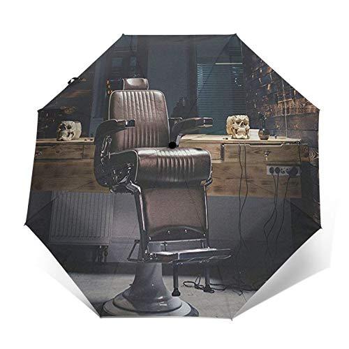 Paraguas Plegable Automático Impermeable Silla de barberos vintage retro Old School, Paraguas De Viaje Compacto A Prueba De Viento, Folding Umbrella, Dosel Reforzado, Mango Ergonómico