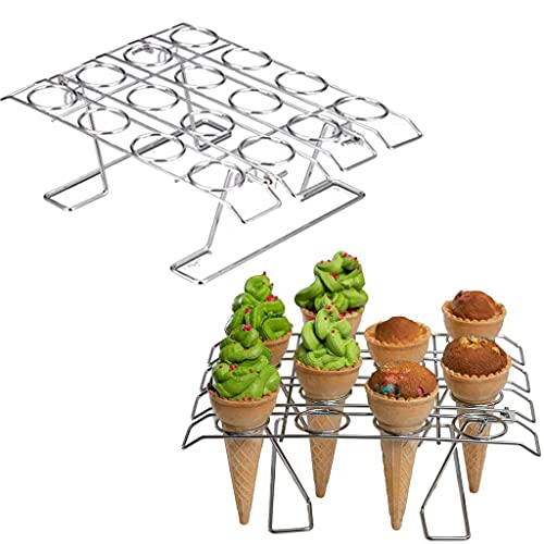 TUANTUAN 1Pack Foldable Cupcake Cone Baking Rack 16-Holes Ice Cream Cone Holder Display Stand Ice Cream Cone Cupcakes Storage Shelf Waffle Cone Holder for Engagement Birthday 4th of July Party