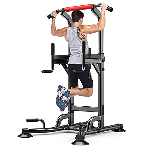 Yoleo Adjustable Power Tower - Multi Function Pull up Station for Strength Training - Dip Stand...
