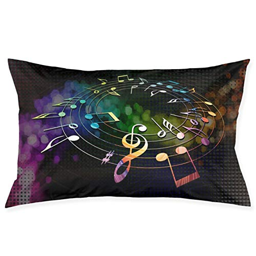 LESLIEYU Ultra-Soft Pillow Protectors Cases Covers, Music Notes Rectangle Sofa Pillowcases Shams with Zippered, Waist Cushion Throw Pillow Cover for Couch Bed Bedroom Chair (20 x 30)